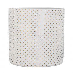 Pot à fleurs en céramique - Blanc motifs dorés - 20 x 20 cm