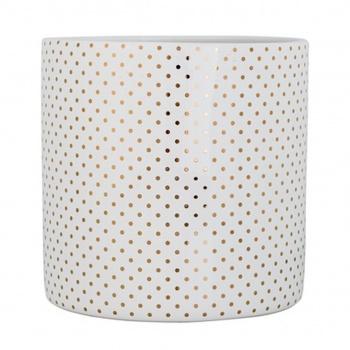Pot à fleurs en céramique - Blanc motifs dorés - 20 x 20 cm Bloomingville