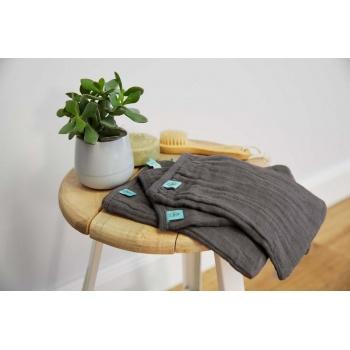 Lot de 3 gants de toilette en mousseline anthracite Lassig