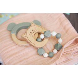 Bracelet de dentition - Bois Silicone - Chat Lassig
