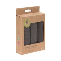 Lot de 3 débarbouillettes grises en mousseline anthracite Lassig