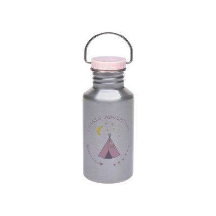 Gourde pour enfant - Bouchon rose - Inox - Adventure Tipi Lassig