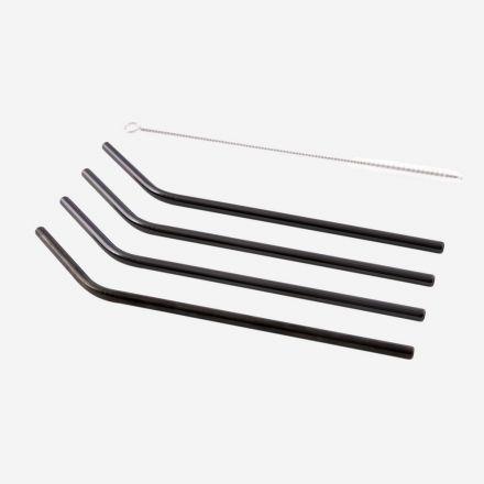 Set de 4 pailles en inox avec brosse de nettoyage - Noir