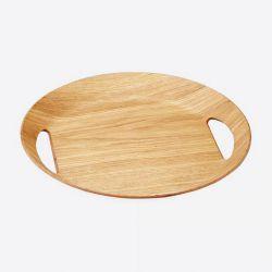Grand plateau ovale - Couleur Bois - Point virgule - 46 x 41 x 4 cm