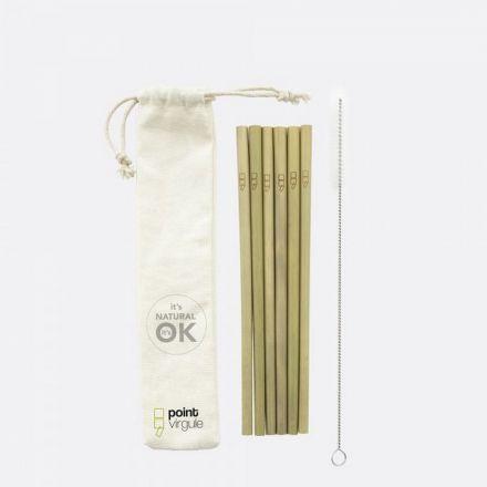 Set de 6 pailles en bambou avec brosse de nettoyage - 19.5 cm