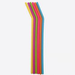 Set de 6 pailles courbes en silicone multicolore avec brosse de nettoyage - 25 cm
