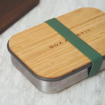 Boîte à sandwich - Acier inoxydable - Couvercle bambou - Couleur olive Black Blum