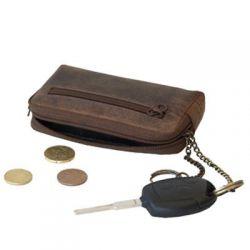 Porte monnaie en cuir avec porte clé - 6.5 x 11.5 cm