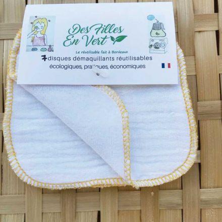 4 disques démaquillants lavables et réutilisables Des filles en vert France