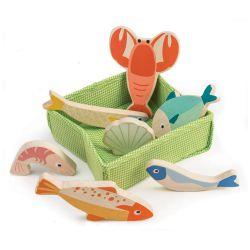 Caisse de poissons et fruits de mer en bois Tender Leaf Toys