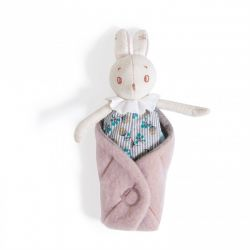 Petit lapin Mousse dans sa couverture feuille - Moulin Roty