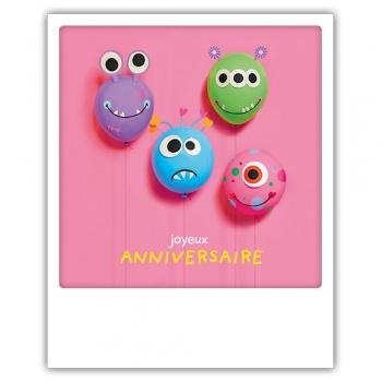 Carte pickmotion - Joyeux anniversaire - Ballons monstres