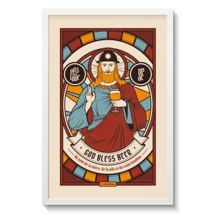 Affiche Gallodrome - God bless beer - GAL08