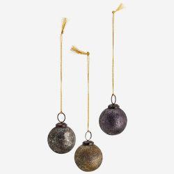 Boule de noel à suspendre - doré argenté violet
