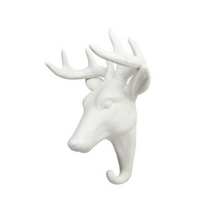 Porte manteau cerf blanc - porcelaine