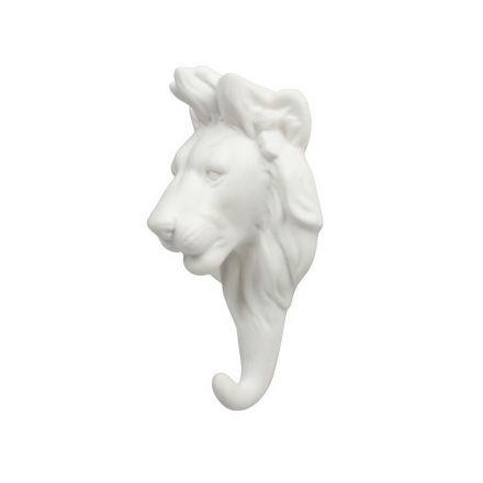 Porte manteau lion blanc - porcelaine