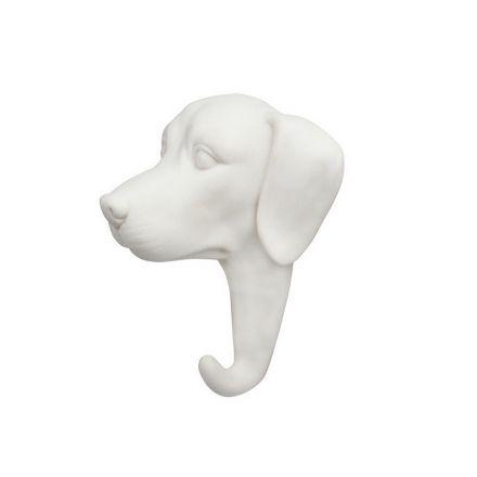 Porte manteau chien blanc - porcelaine