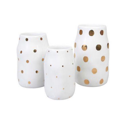 Set de 3 vases - 3 tailles - blancs aux points dorés