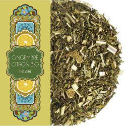 Sachet 100G -Thé vert - Gingembre - Citron - Bio