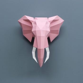 Trophée en origami éléphant Rose Assembli