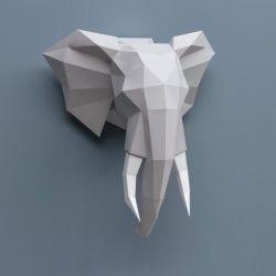 Trophée en origami éléphant Gris Assembli