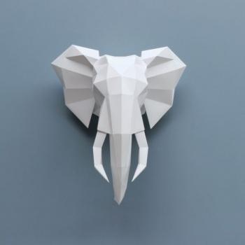 Trophée en origami éléphant Blanc Assembli