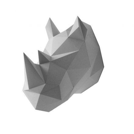 Trophée origami rhinoceros gris Assembli