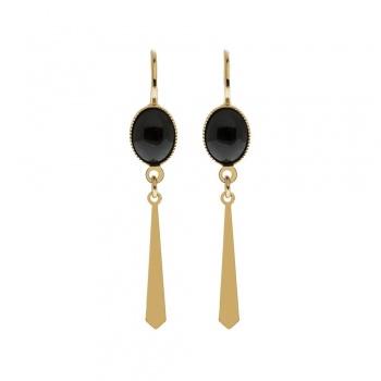 Boucles d'oreilles Inca cabochons Noires Laeti Tréma