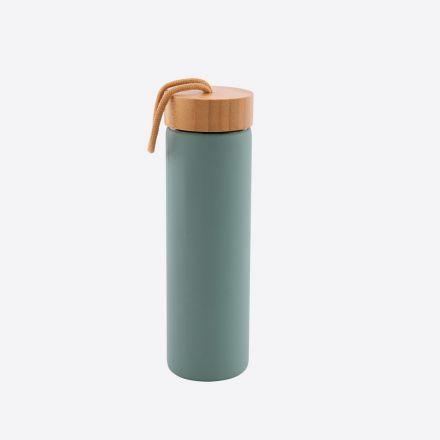 Bouteille en verre avec anneau en silicone - Vert sauge - 600 ml