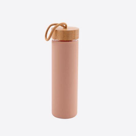 Bouteille en verre avec anneau en silicone - Rose poudré - 600 ml