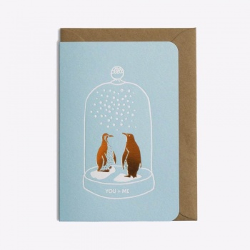Carte duo pingouins - You + Me - Bleu pastel