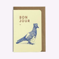 Carte Bonjour - Love is in the air - Pigeon voyageur - Vanille