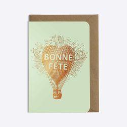 Carte Bonne fête - Montgolfiere - Vert d'eau