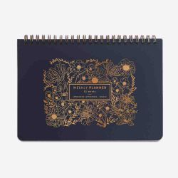 Weekly planner - Fine fleur - Bleu marine - Dessin doré
