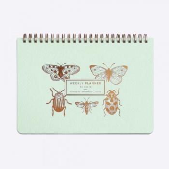 Weekly planner - Slow life - Insectes et papillons - Vert d'eau