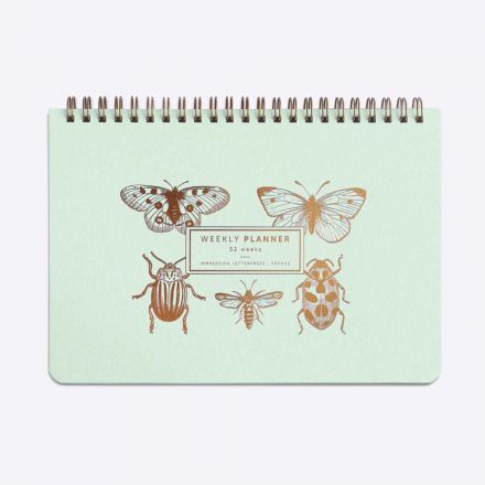 Weekly planner - Slow life - Insectes - Vert d'eau