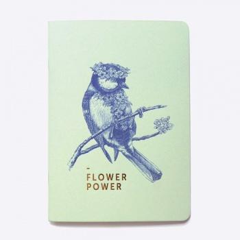 Cahier ligné - Flower power - Vert d'eau
