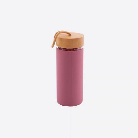 Bouteille en verre Point virgule - Vieux rose - 450 ml