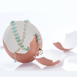 Oeuf Bracelet Spoutnik Perles verre Noir