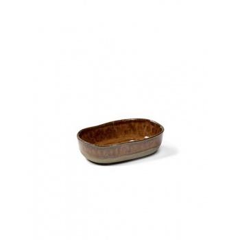 Ramequin rectangulaire Merci n°8 ocre/brun