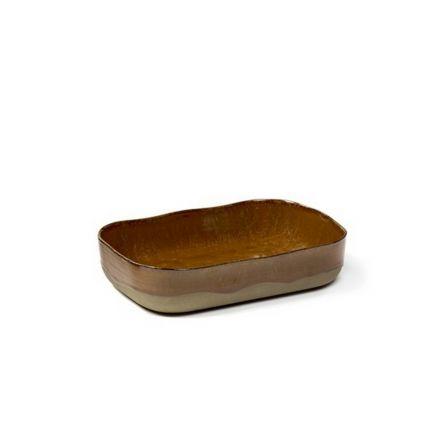 Petit plat à four rectangulaire Merci n°5 ocre/brun