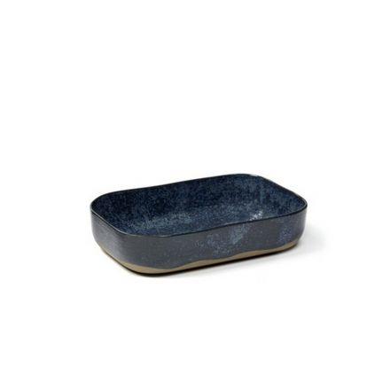 Petit plat à four rectangulaire Merci n°5 bleu/gris