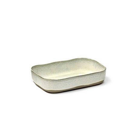 Petit plat à four rectangulaire Merci n°5 blanc cassé