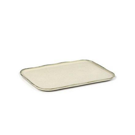 Grande assiette rectangulaire Merci n°1 blanc cassé