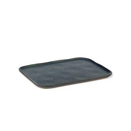 Grande assiette rectangulaire Merci n°1 bleu/gris