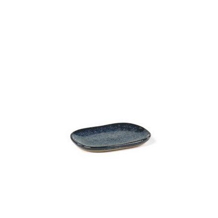 Mini assiette rectangulaire Merci n°4 bleu/gris