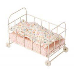 Petit lit en métal à roulettes - Motifs fleurs - Maileg