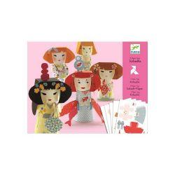 5 paper toys kokeshis Djeco