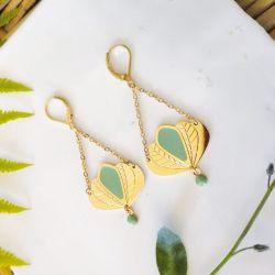 Boucles d'oreilles Chloé Vert d'eau 5 pétales
