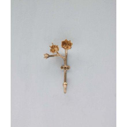 Crochet à fleurs - Laiton doré - Doing goods